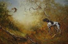 Eugene Kingman, 'Gundog Flushing Birds in Wooded Setting', oil on canvas, signed, 56 x 87cm