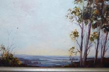 Shirley Vivian 'Panorama, South Coast', oil on canvas board, signed, 19 x 40cm