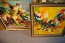 Artist unknown, 2 x South East Asian paintings, incl. farm workers & a cock fight, each an oil on canvas, each signed indistinctly & dated 1969, each measures 58 x 58cm