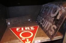 3 various signs incl. 1 x for Ve-Toy Biscuits, screen printed on metal, metal fire extinguisher sign and Bovril stencil printed wooden panel from the side of a crate