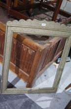 Middle Eastern embossed metal bound picture or mirror frame, shaped top, approx. 87 x 71cm
