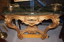 French Louis XVI style gilt demi-lune console table, marble top, very ornate, intricately carved with Rococo scrolls, 108cm W
