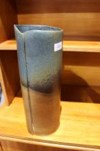Modern pottery vase by Ball Ceramic Design Studio, folded design in blues & browns, 42cm T