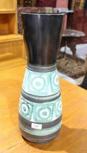 Modernist Austrian pottery vase, hand decorated 50cm T