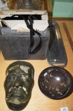 Pottery bowl and mask, concrete composite vase, stainless steel serving tray, metal urn, vintage movie camera in original case and packaging