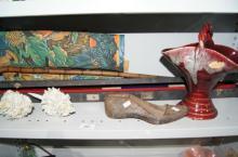 Pottery basket vase, shoe last, batik, pair of floral ornaments, walking stick, vintage pool cue in case