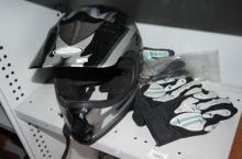 Dirt bike helmet made by THH plus a pair of gloves