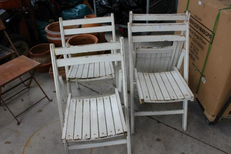 Excellent Set Of 4 Vintage Folding Timber Chairs White Painted Camellatalisay Diy Chair Ideas Camellatalisaycom