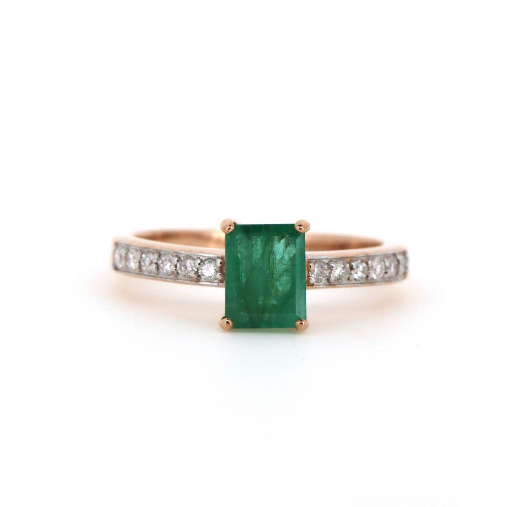 10K Rose Gold, Emerald and Diamond, Classic Ring