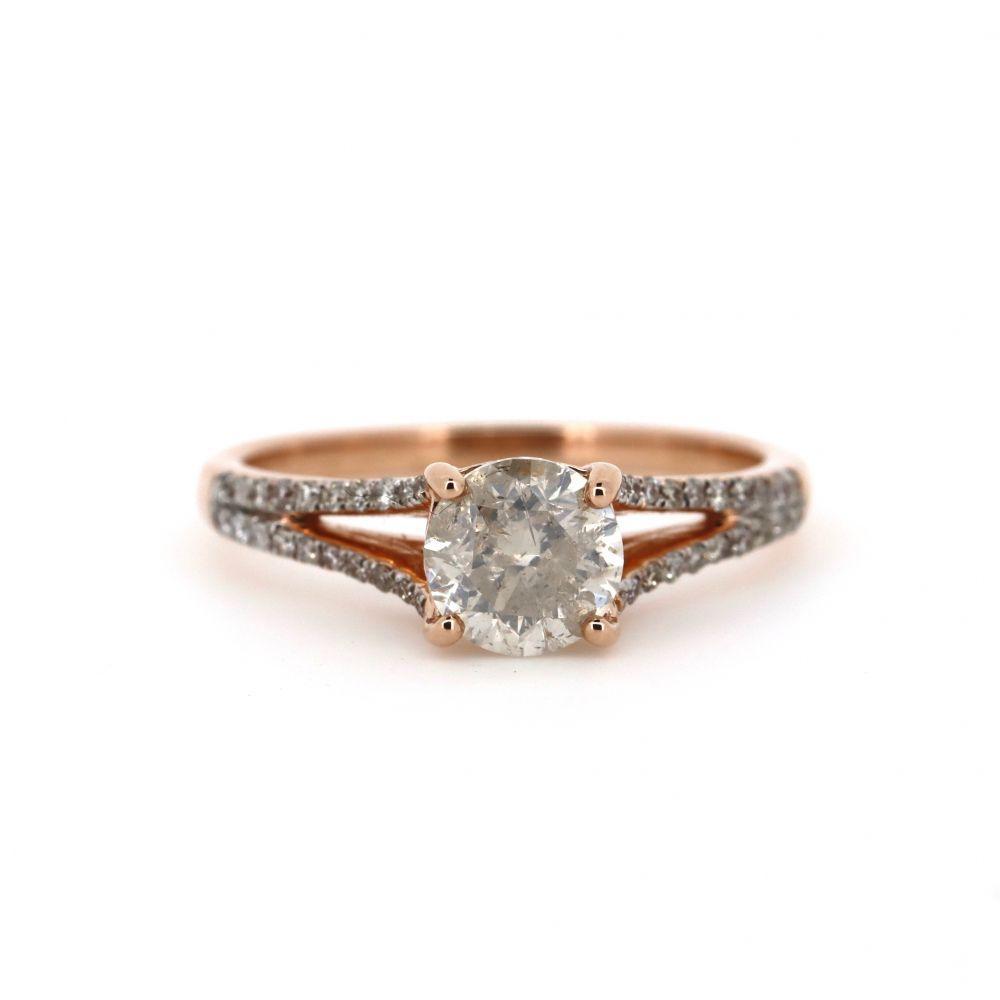 14K Rose Gold and Diamond, Split Band Ring