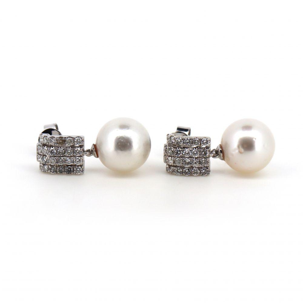 14K White Gold, White Pearl and Diamond Earrings