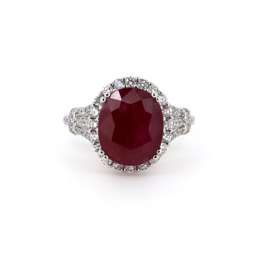 14K White Gold, Ruby and Diamond, Halo Ring