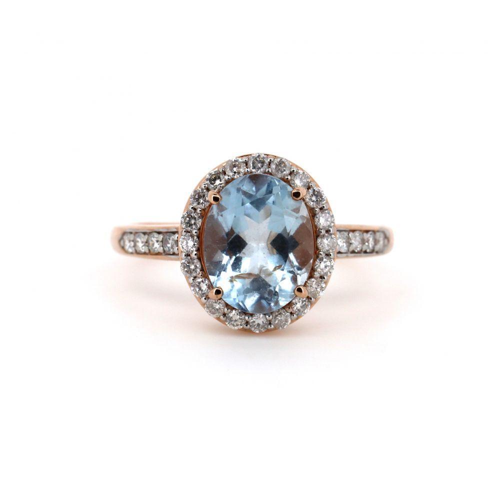 14K Rose Gold, Aquamarine and Diamond, Halo Ring