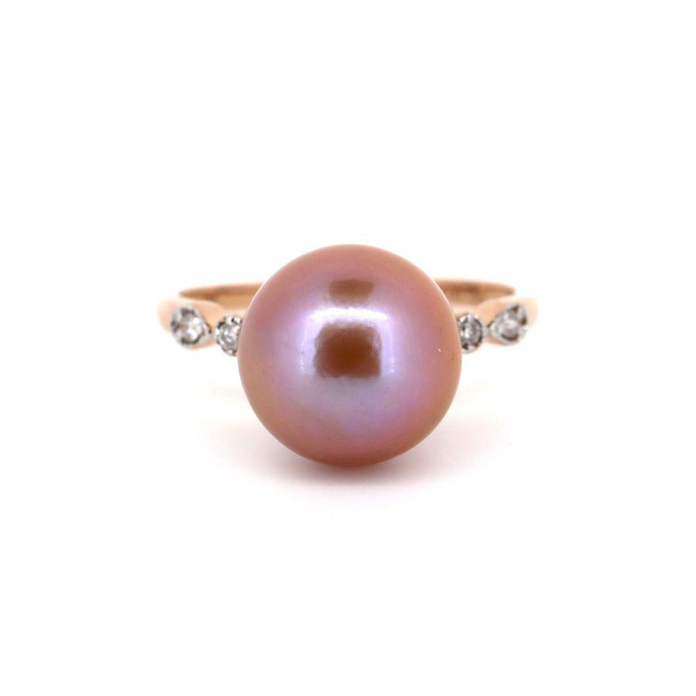 14K Rose Gold, Pink Pearl and Diamond Ring