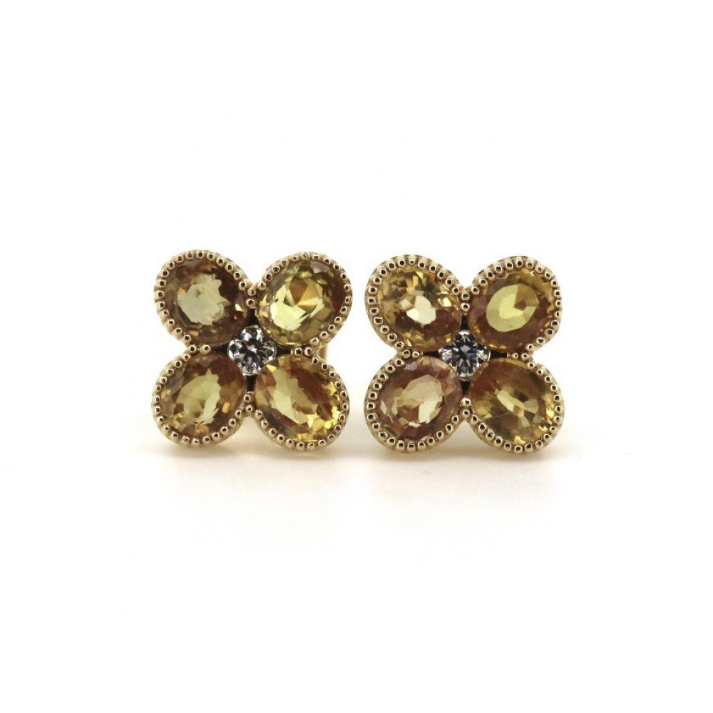 14K Yellow Gold, Sapphire and Diamond Earrings