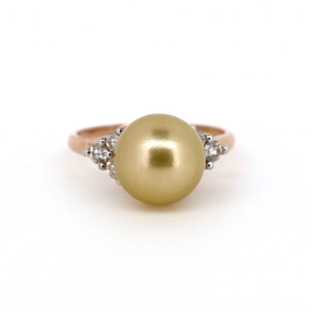 14K Rose Gold, South Sea Pearl and Diamond Ring