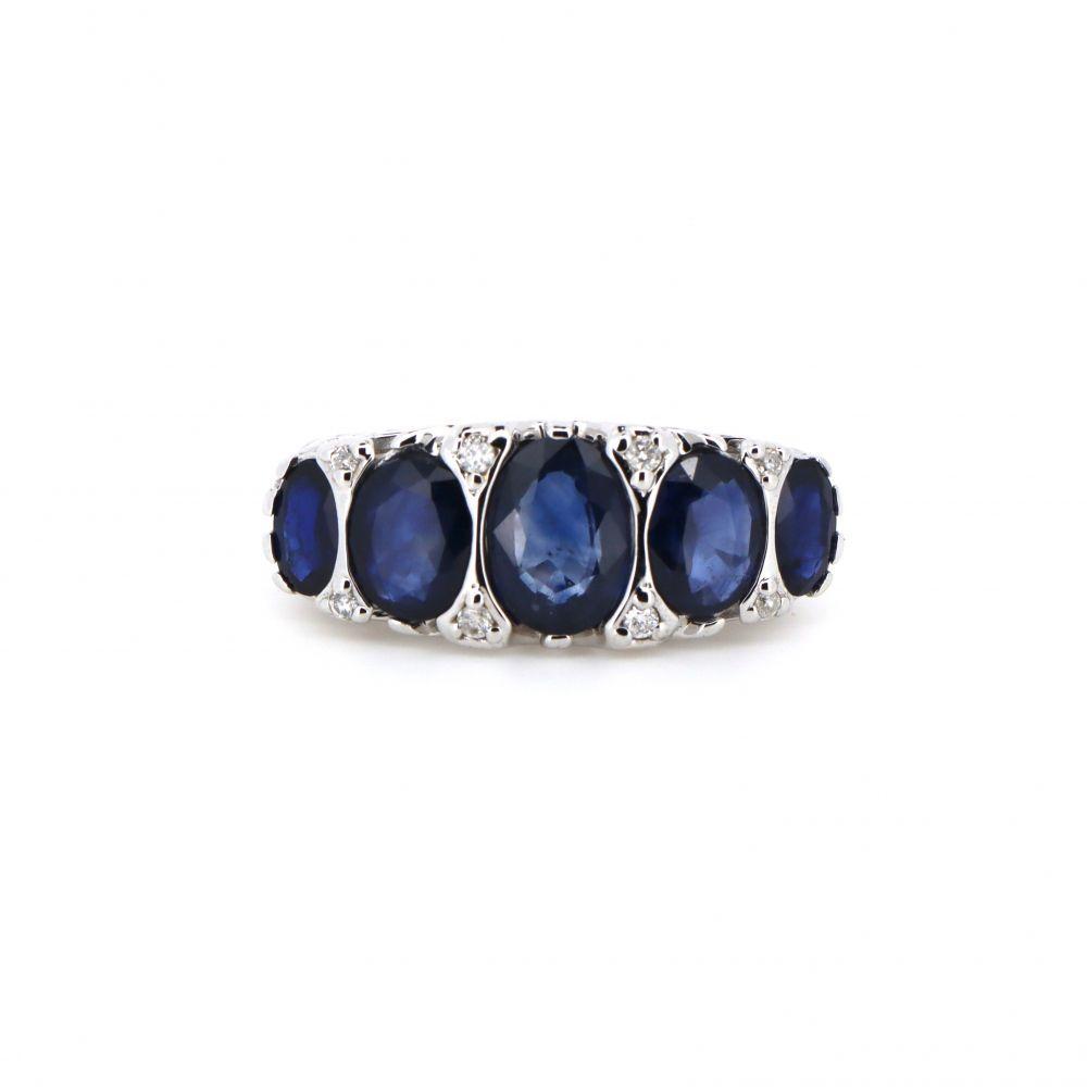 14K White Gold, Sapphire and Diamond Eternity Ring