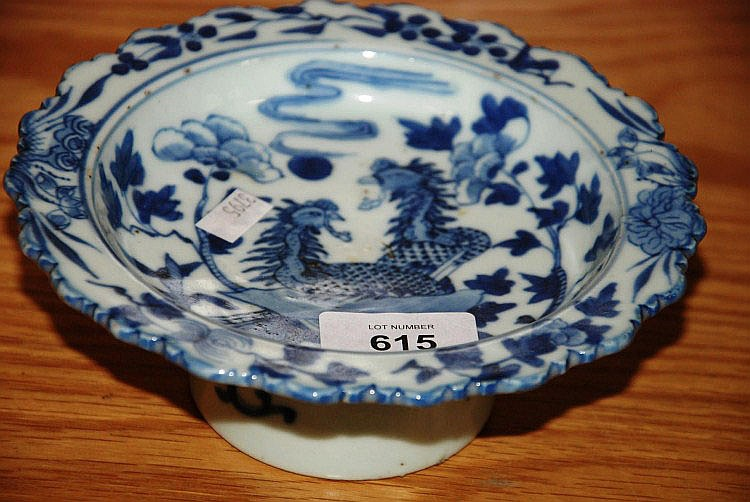 Small Chinese blue & white pottery stand with 2