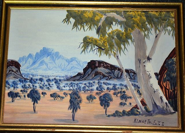 Kenneth Entata, watercolour, Central Australian Desert landscape, Hermannsberg School,