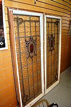Pair of large art nouveau leadlight glazed