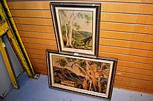 Pair of vintage Albert Namatjira prints, landscape