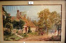 G.R. Clarke watercolour, English thatched cottage,
