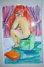Christabel Blackman multi-media ink & wash study,