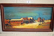 Artist unknown oil on board 'Stewart Town' -