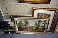 5 various pictures incl. 4 x oil paintings & a