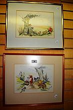 Jean Skerratt, pair of watercolours, possibly for