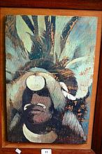 Artist unknown oil on board of a New Guinea