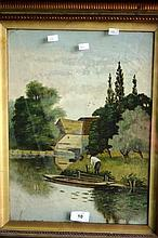Antique oil on board, figure by waterbank with a