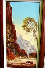 Henk Guth oil on board, Northern Territory outback