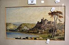 R. Poate watercolour, castle scene by shore line,