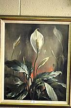 Edward Hurst oil on canvas, still life of lillies