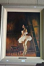 K.J. Penson oil on canvas board 'Backstage' 1990