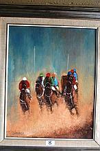John Vander oil on board 'To the post' 50 x 40cm