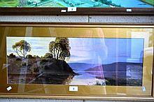 Early Australian oil on board of a river landscape