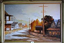 R. Maitan oil on board of a country street scene,