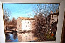 Howard Scott oil on canvas, an old water mill by a