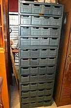 Bank of 3 Rotasteel parts drawers, each holding 16