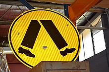 Modern reflective street sign for pedestrian