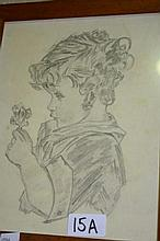 Artist unknown: pencil sketch of a young child
