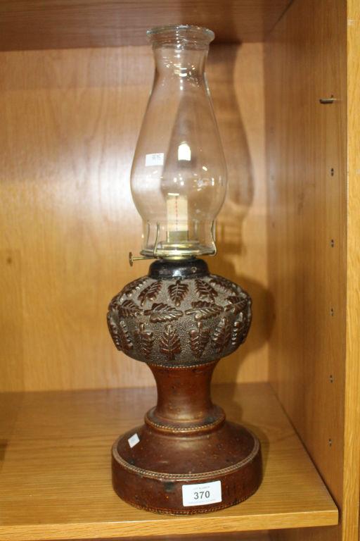 Unusual Antique Glazed Stoneware Oil Lamp Base