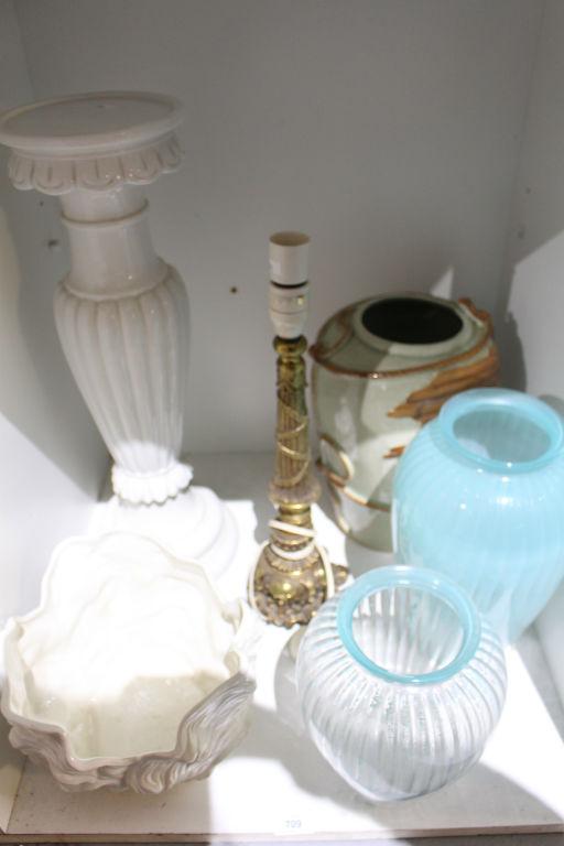 Ceramic pedestal 2 glass vases brass lamp - Ceramic pedestal table base ...
