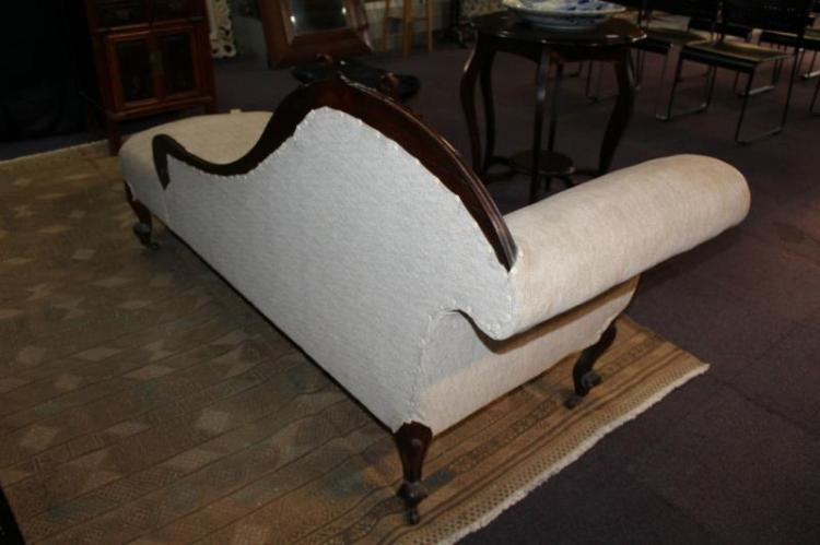 Antique mahogany chaise lounge carved frame for Carved chaise lounge