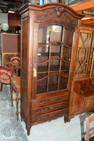 French Oak Display Cabinet Vitrine