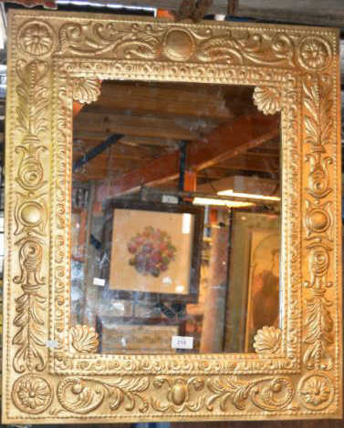 Vintage Pressed Metal Framed Wall Mirror