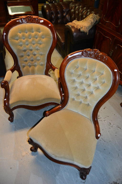 Pair of mahogany framed chairs Home bargains furniture uk