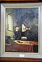 Oleograph of a money lender painting after Verneer